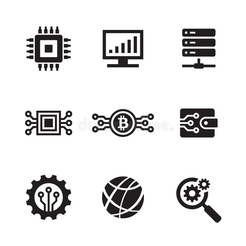 Computer electronic technology - black web icon design set. Network vector sign. vector illustration