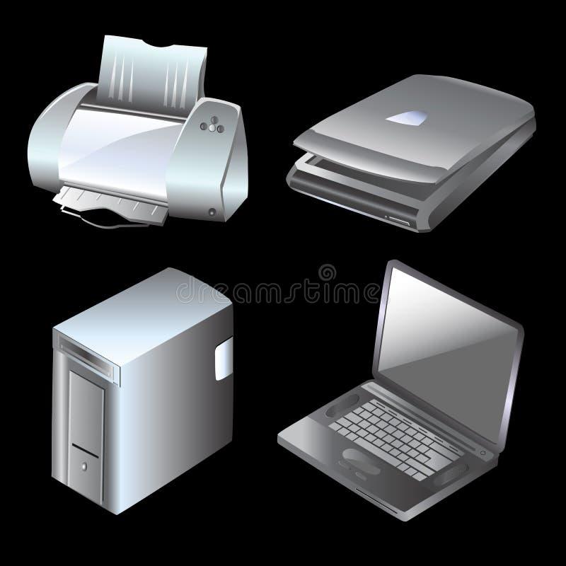Computer en apparatuur vector stock illustratie