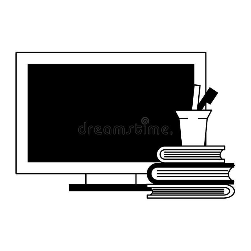 Computer en boeken met pennen in kop in zwart-wit stock illustratie