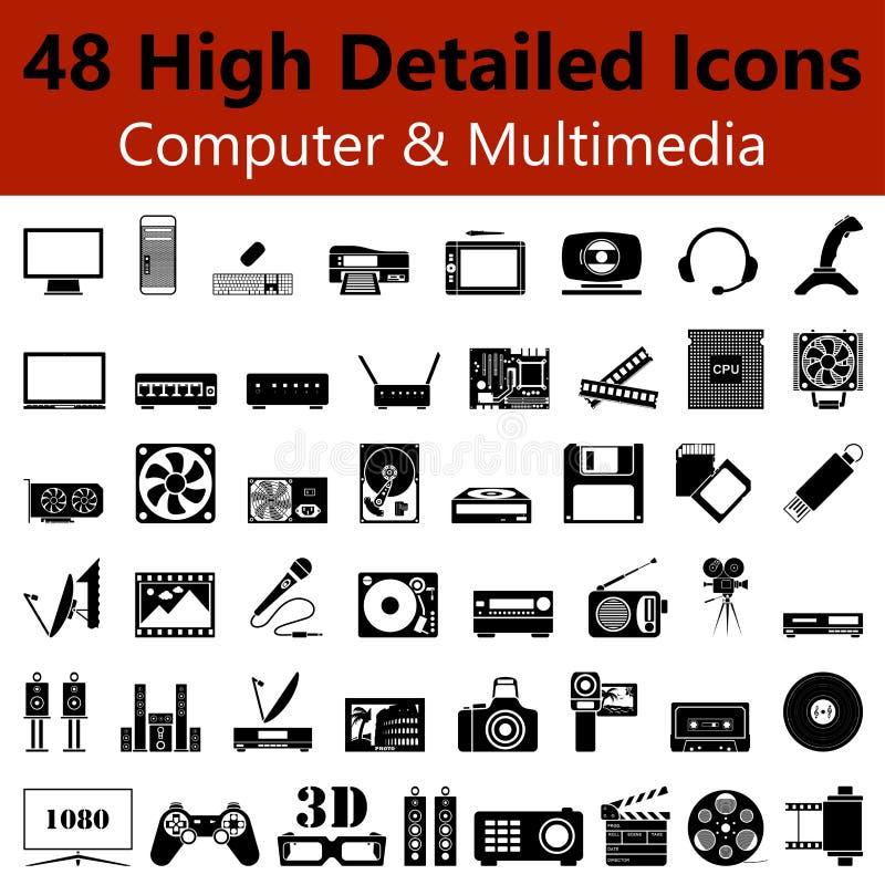 Computer en de Vlotte Pictogrammen Van verschillende media vector illustratie