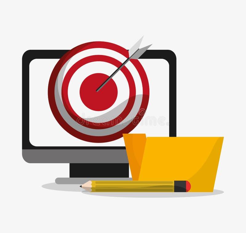 Computer en digitaal marketing ontwerp stock illustratie
