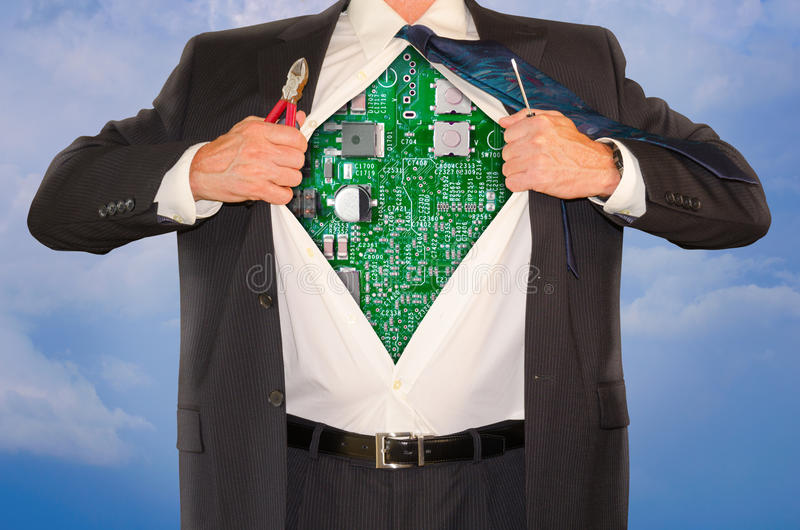 Computer Engineer Repair Tech Support Online Superman. Computer repair and engineer tech support superman opening his shirt to reveal his robotic computer body royalty free stock photo