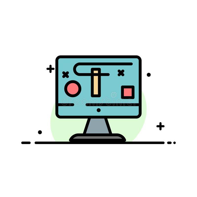 Computer, Entwurf, Anzeige, Grafik-Geschäfts-flache Linie füllte Ikonen-Vektor-Fahnen-Schablone stock abbildung