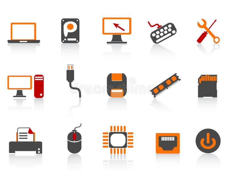 Computer equipment icon color series. On white background royalty free illustration