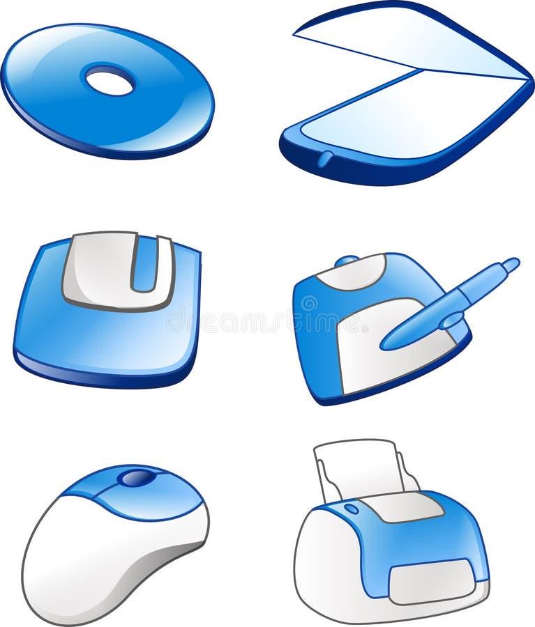 Computer equipment icons #1. Computer equipment icons in blue