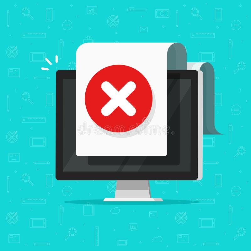 Computer with error document sign vector icon, flat cartoon desktop pc with warning or failure symbol, not found data or royalty free illustration