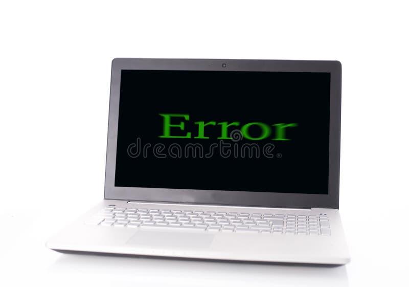 Computer error. Laptop computer with error, Virus concept royalty free stock image