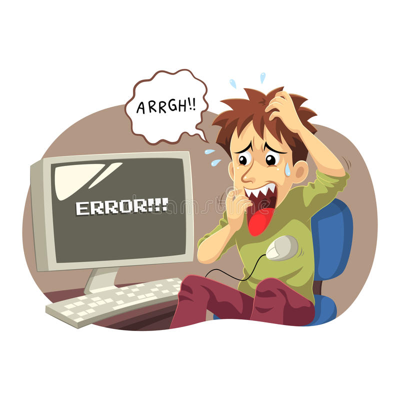 Computer Error. A man panic and stressed because his computer error and can do nothing stock illustration