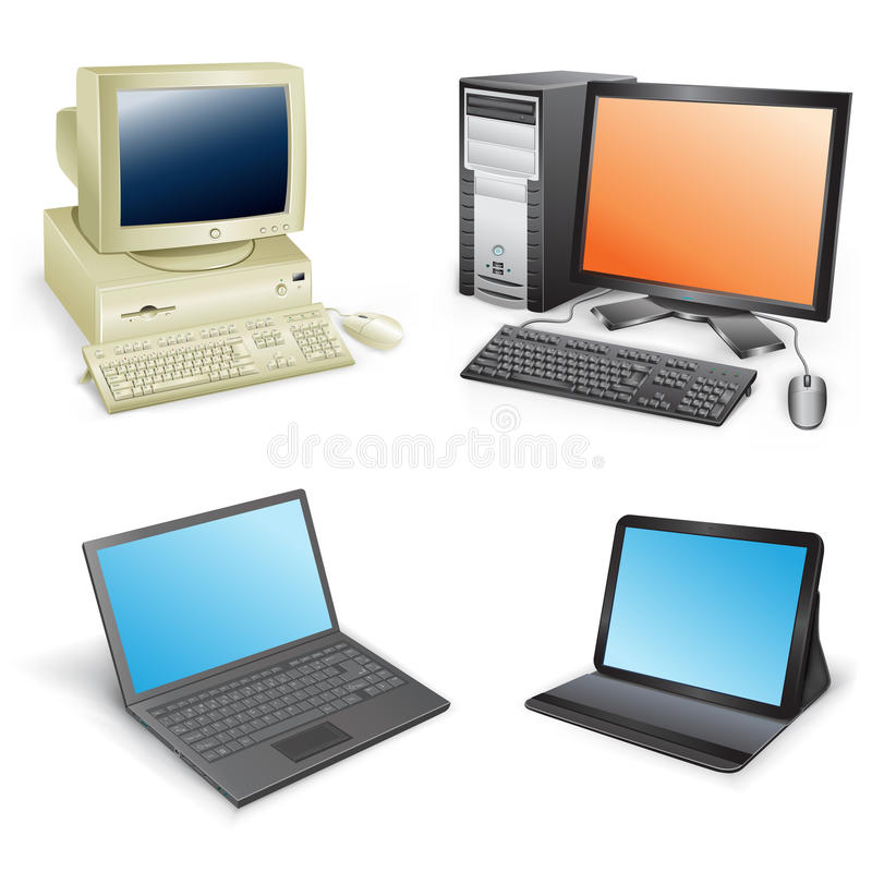 Download Computer evolution stock vector. Image of monitor, peripheral - 32670326