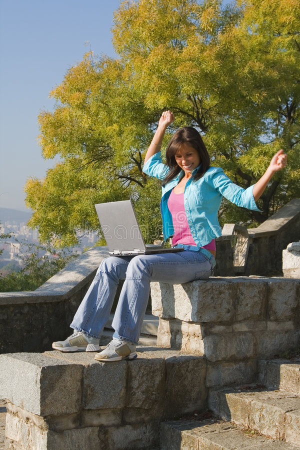 Download Computer excitement stock photo. Image of businesswoman - 3295706