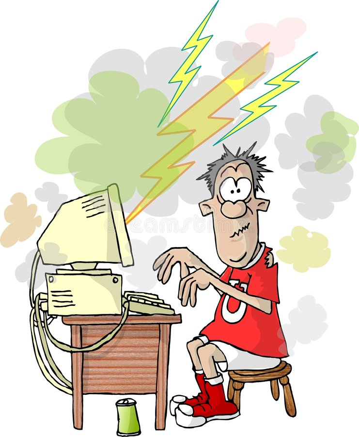 Computer failure. This illustration that I created depicts aman seated at a computer that has lightning bolts and smoke coming from the monitor