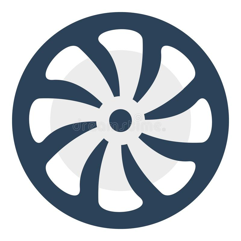 Computer fan icon, flat style royalty free illustration