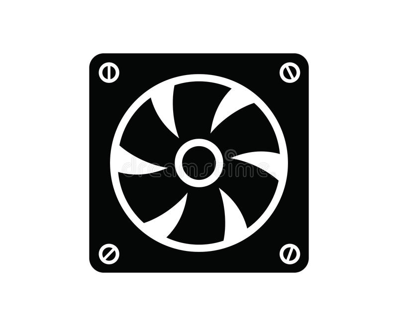 Computer fan. Vector black computer fan icon on white background royalty free illustration
