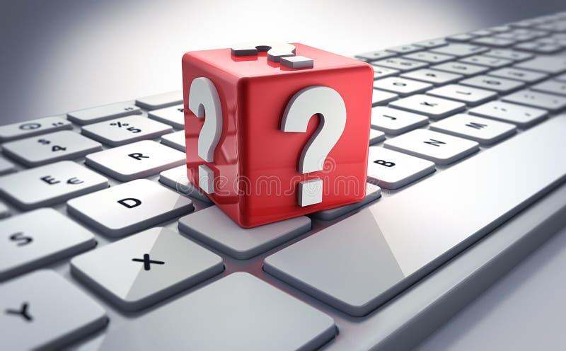 Computer FAQ-Dienstleistungen - Illustration 3D lizenzfreie abbildung