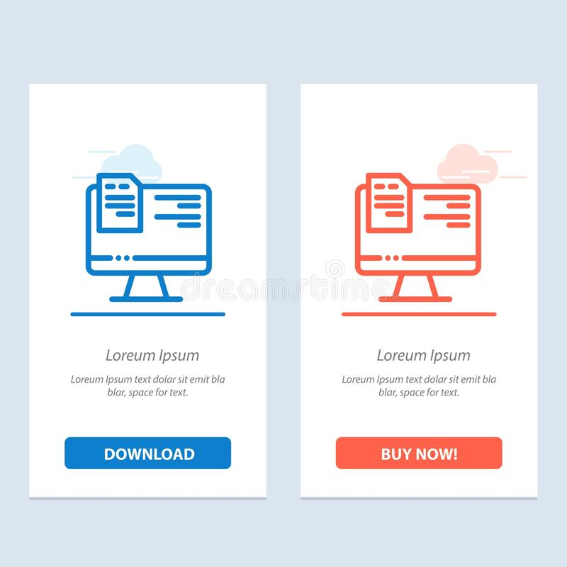 Computer, File, Education, Online  Blue and Red Download and Buy Now web Widget Card Template stock illustration