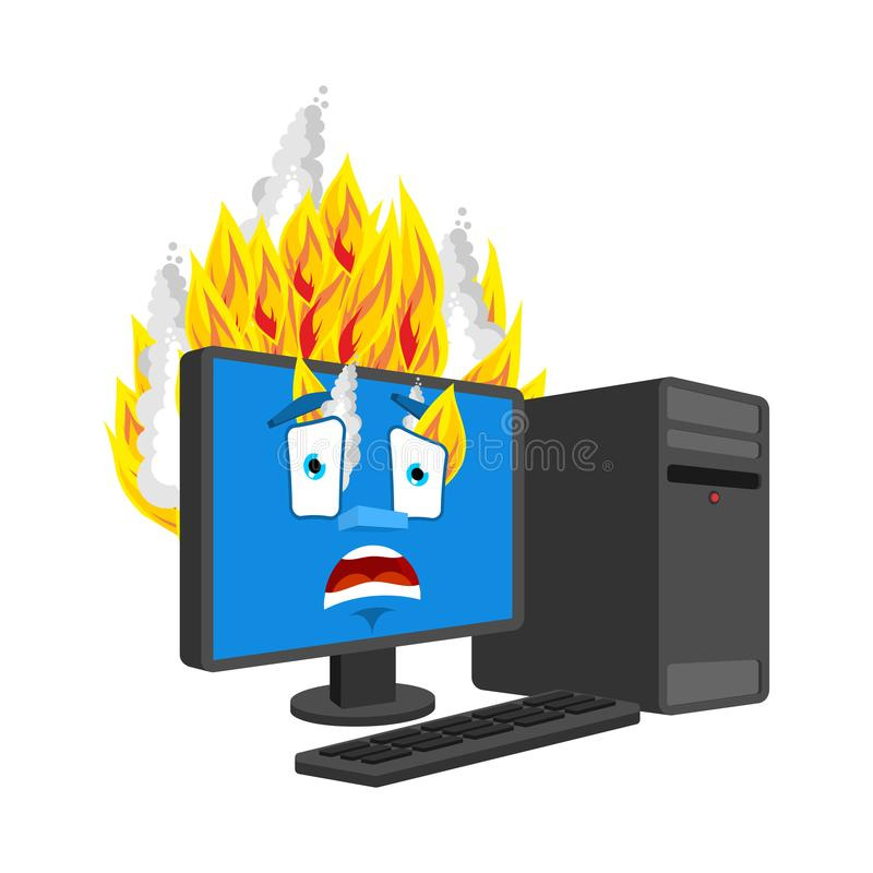 Computer Fire isolated. burning Computer Cartoon Style. data processor panicked Vector.  stock illustration
