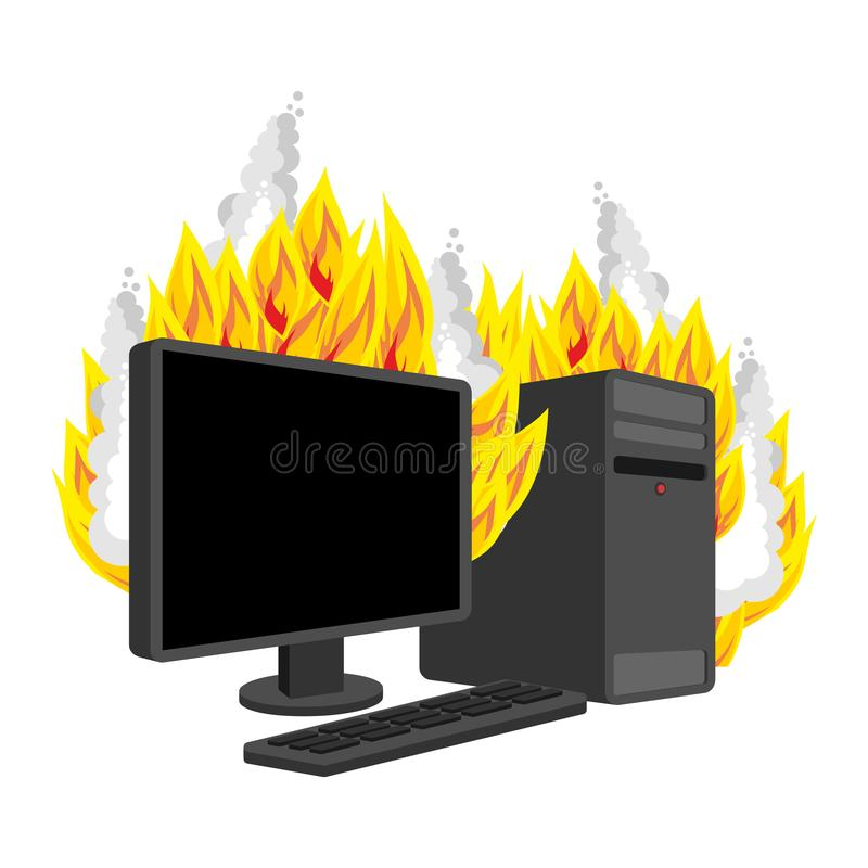Computer Fire isolated. burning Computer. data processor Vector.  royalty free illustration