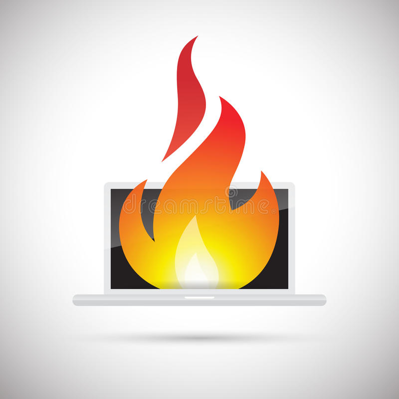 Computer Fire. Vector abstract illustration of a computer on fire royalty free illustration