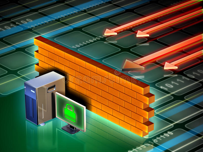 Computer firewall. Personal computer protected from external attacks by a brick wall. Digital illustration stock illustration