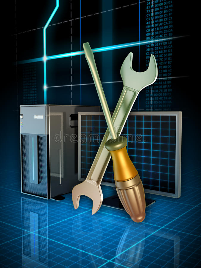 Download Computer fixing stock illustration. Image of copy, code - 28388547