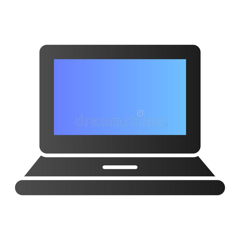 Computer flat icon. Laptop color icons in trendy flat style. Notebook gradient style design, designed for web and app. Eps 10 stock illustration