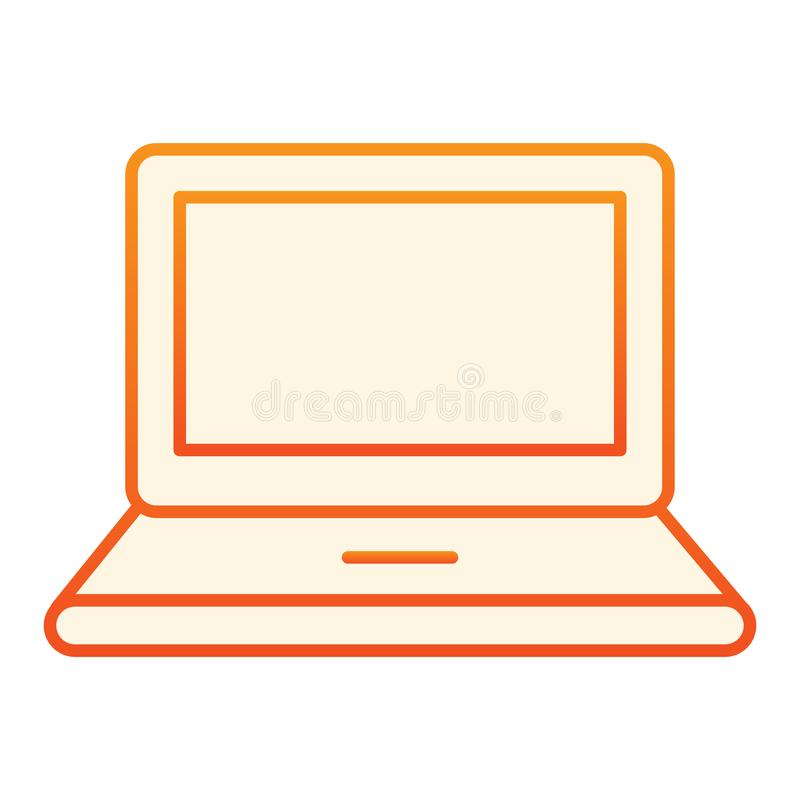 Computer flat icon. Laptop orange icons in trendy flat style. Notebook gradient style design, designed for web and app. Eps 10 vector illustration