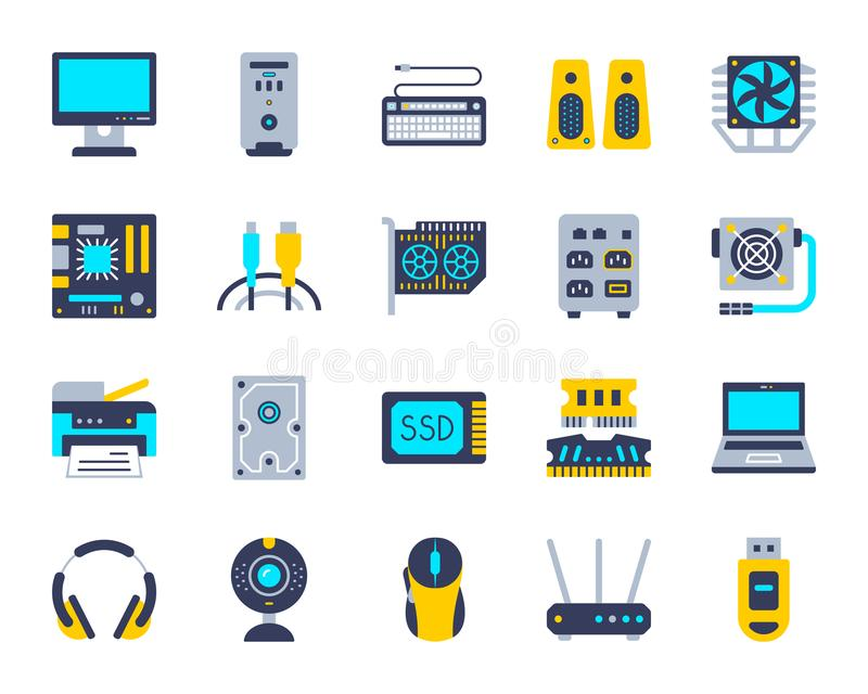 Computer simple flat color icons vector set stock illustration