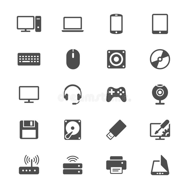 Computer flat icons. Simple, Clear and sharp. Easy to resize royalty free illustration
