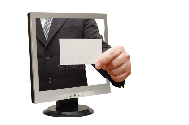 Computer flat screen monitor giving a card. Isolated over white stock photo