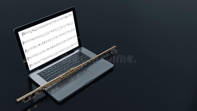 Computer with flute. Design made in 3D vector illustration