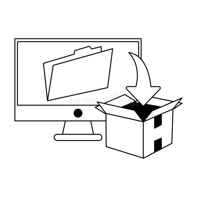 Computer with folder and download box black and white. Computer with folder and download box vector illustration graphic design royalty free illustration