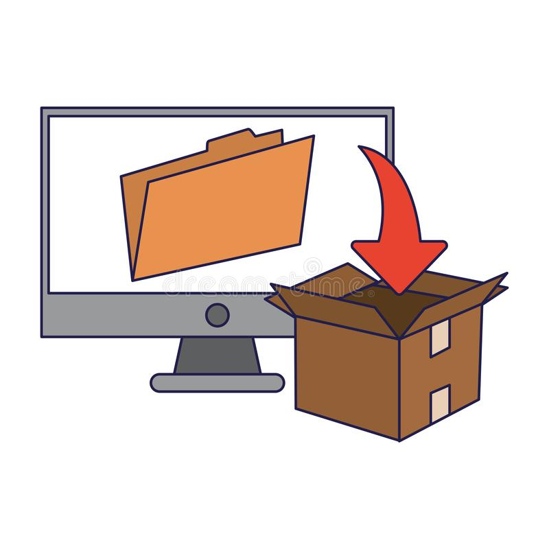 Computer with folder and download box blue lines. Computer with folder and download box vector illustration graphic design royalty free illustration