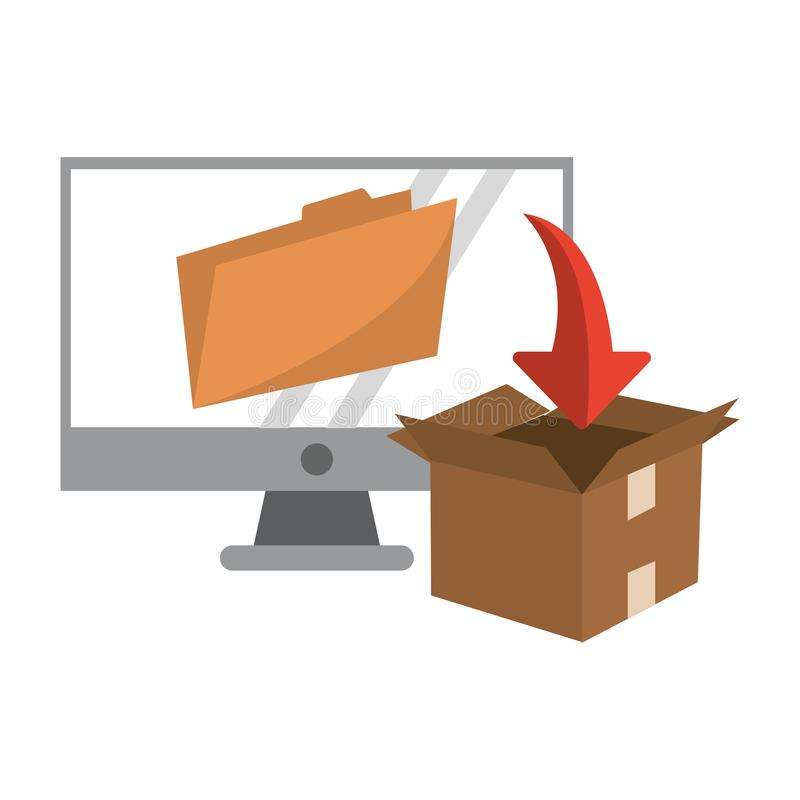 Computer with folder and download box. Vector illustration graphic design royalty free illustration