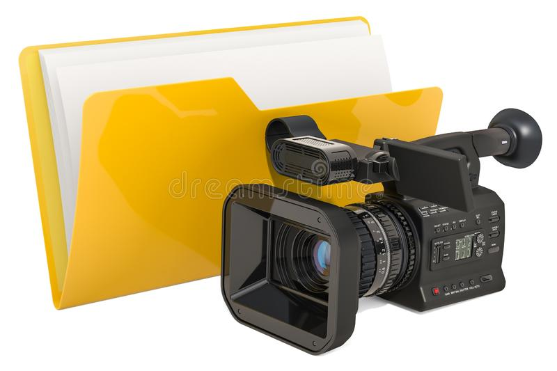 Computer folder icon with video camera, 3D rendering. Isolated on white background vector illustration