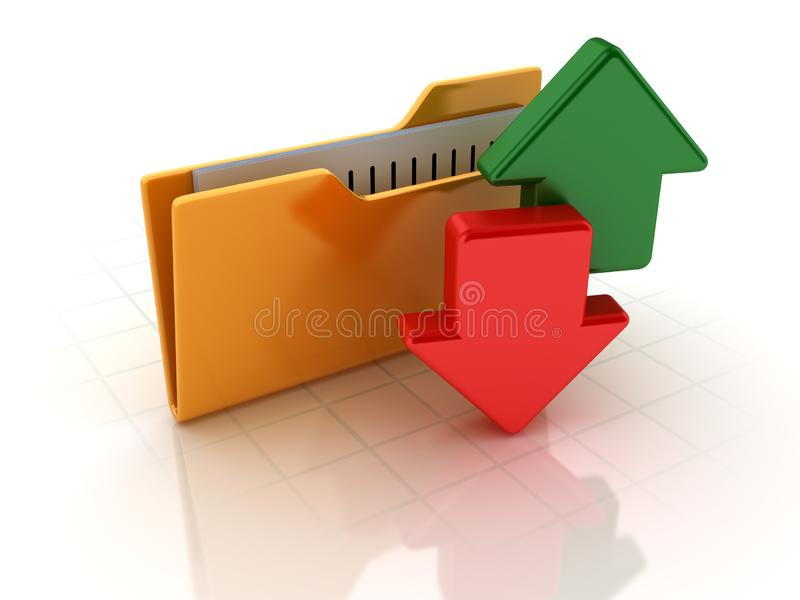 Computer Folders with Arrows stock illustration