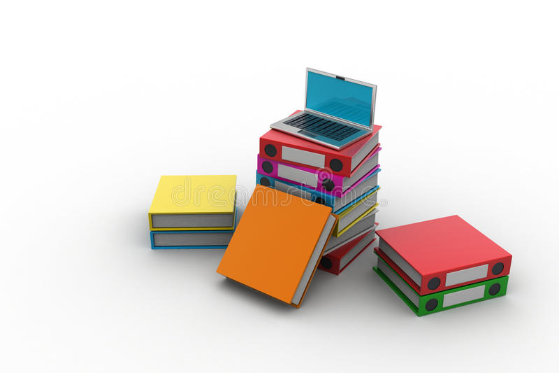 Computer and folders for documents. In white color background stock illustration