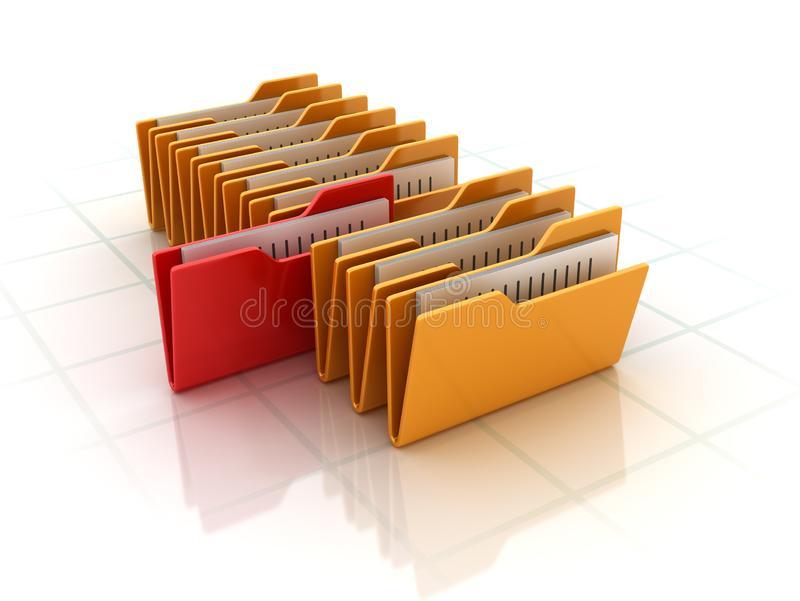 Computer Folders. High Quality 3D Rendering royalty free illustration