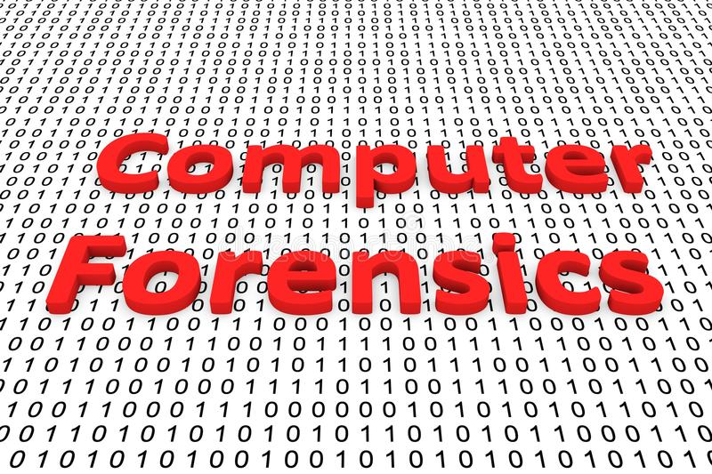 Computer forensics. In the form of binary code, 3D illustration royalty free illustration