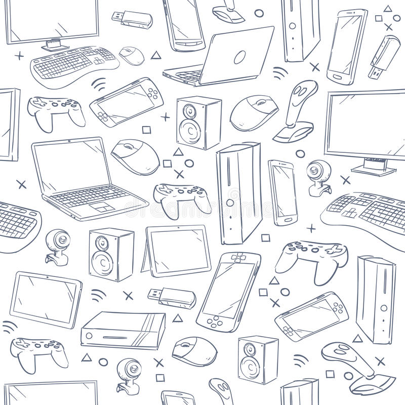 Computer game, device, social gaming vector sketch doodles seamless pattern. Doodle sketch joystick and gaming console, illustration of sketch background with vector illustration