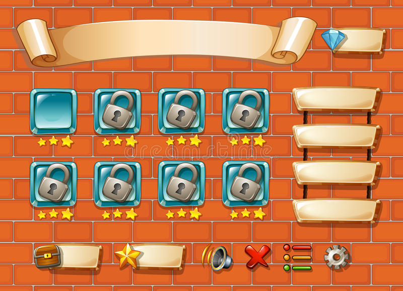 Computer game. Illustration of computer game with bricks background stock illustration