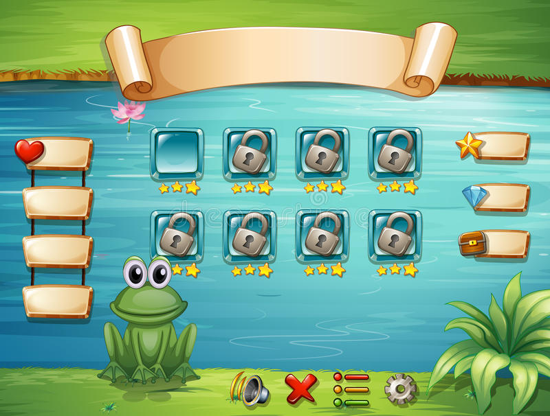 Computer game. Illustration of a scene from a computer game stock illustration