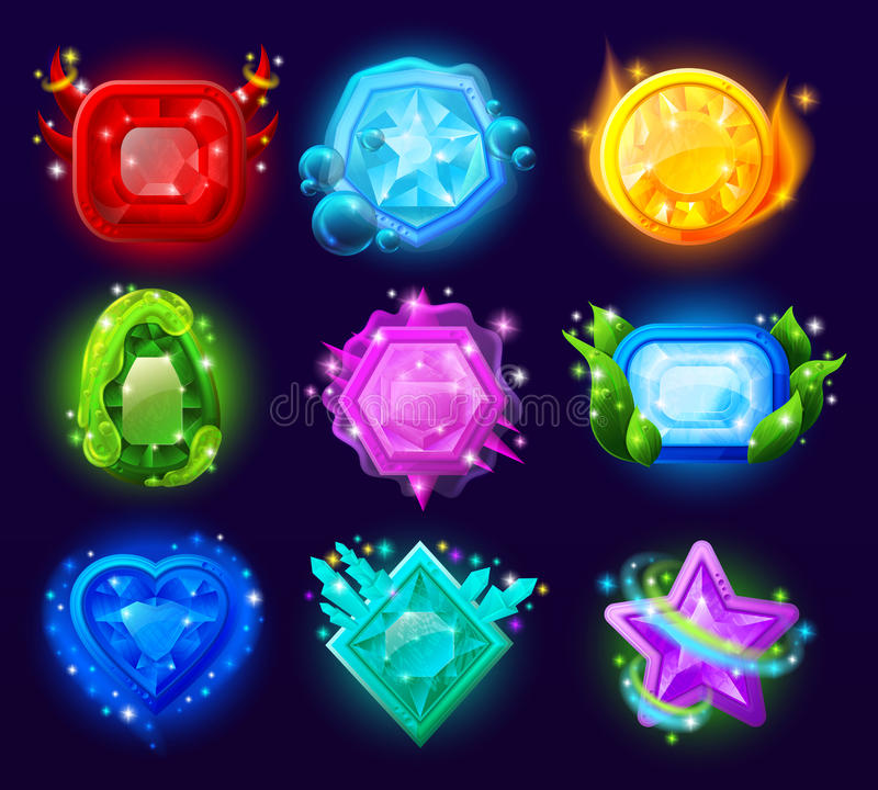 Computer Game Magic Gems Set. With different effects on black background vector illustration stock illustration