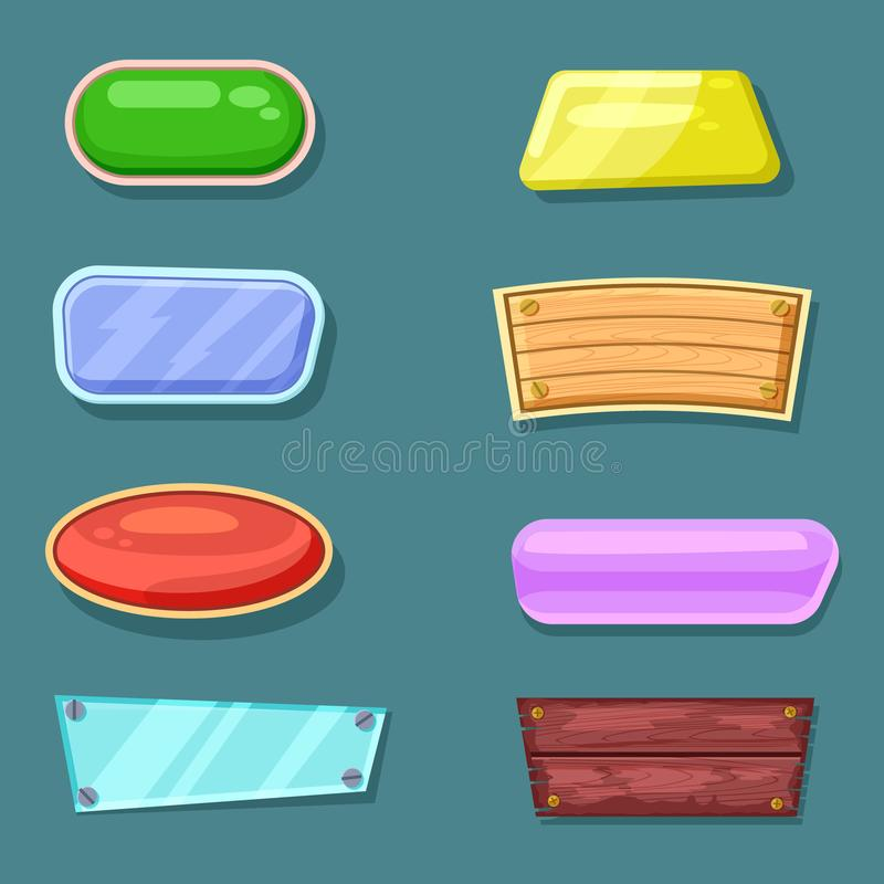 Computer game menu interface objects collection. Shiny, wooden, glossy, glassy original buttons. Bright user design set, app graphical user interface, site royalty free illustration