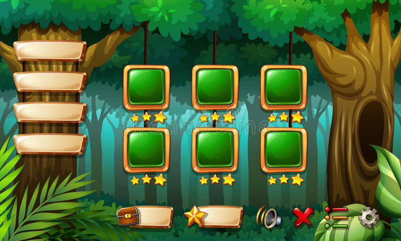 Computer game. Template with forest scene stock illustration