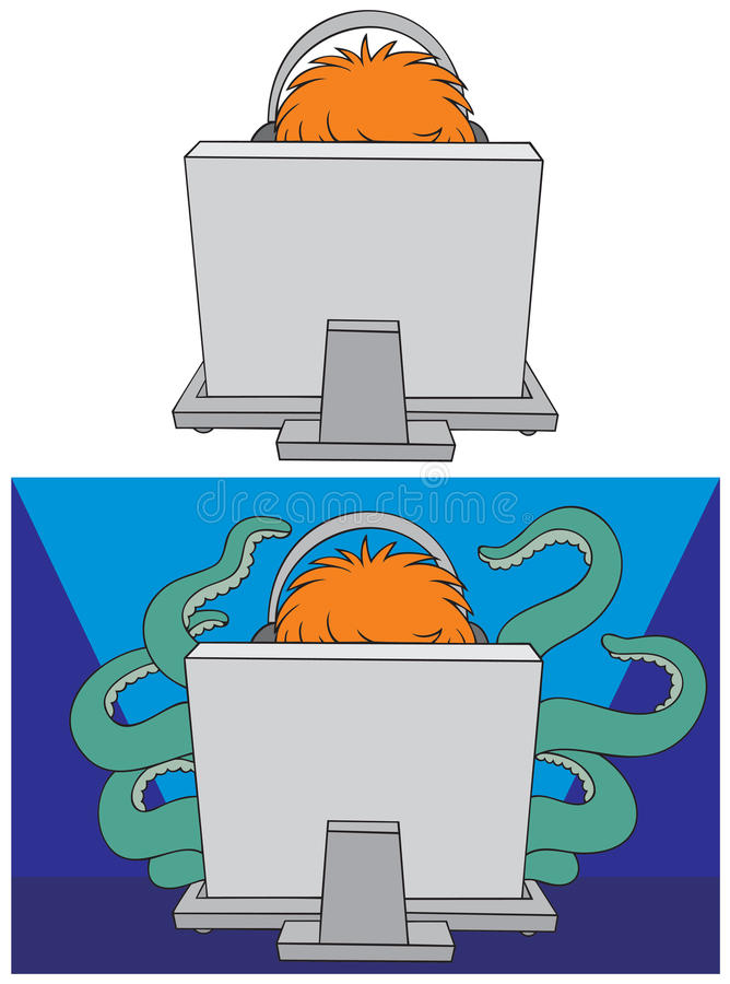 Computer gamer. Sitting at the desk in front of the computer Vector clip-art royalty free illustration