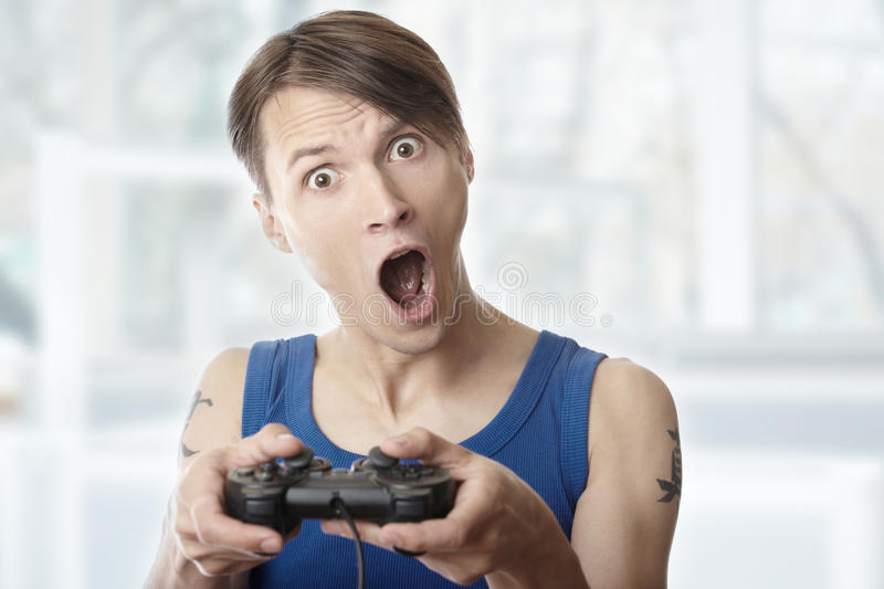 Download Computer games at home stock photo. Image of gamer, joystick - 24584998