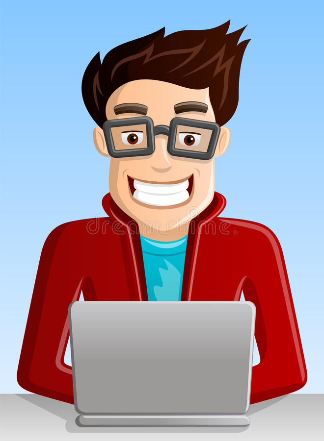 Computer Geek. Funny Smiling Computer Geek with Laptop PC at work royalty free illustration