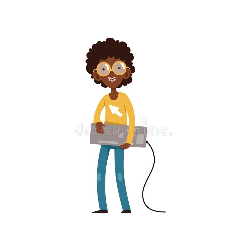 Computer geek character with keyboard in hands. Cartoon black boy with smiling face expression. Kid in sweater, jeans. Glasses and dental braces on teeth. Flat vector illustration