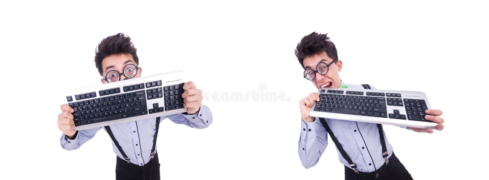 Computer geek nerd in funny concept royalty free stock images