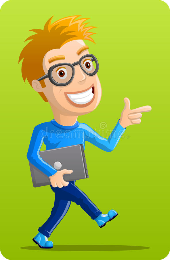 Computer Geek - Pointing with Laptop stock illustration